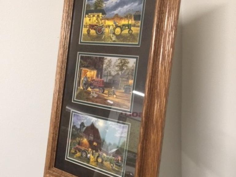 x3 Tractors Framed Photograph - Online Auction