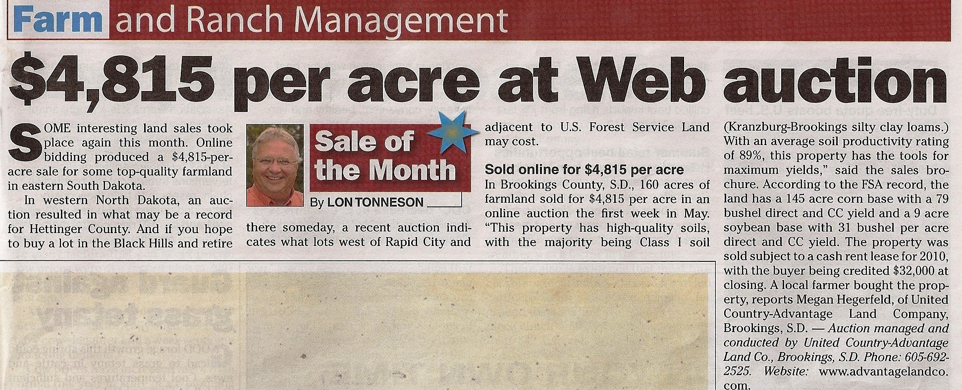 newspaper article featuring land purchased through advantage land