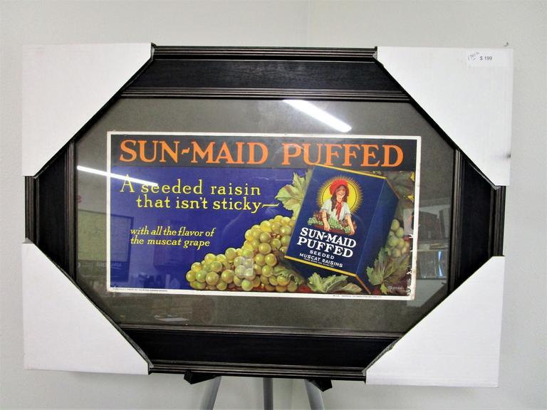 "Tabard Press - SunMaid Puffed Raisins - Professionally Framed 1940s Style Advertisement 22x32"" - Online Auction"