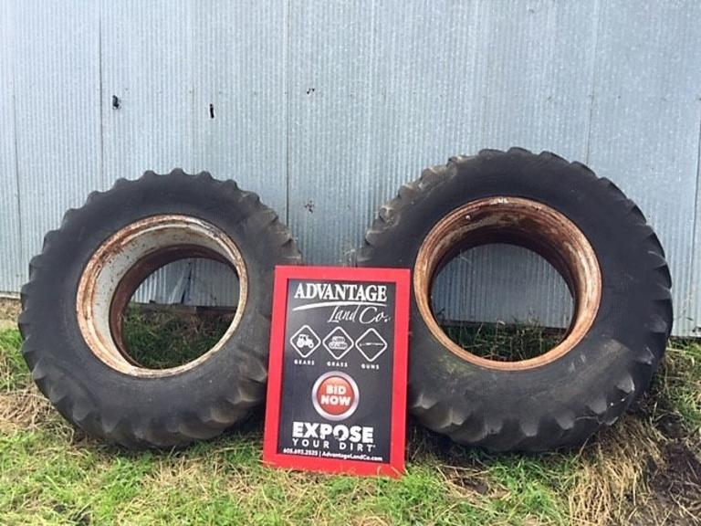 18.4.34 Dual Tractor Tires - Decent Tread Ready to Go! - Online Auction