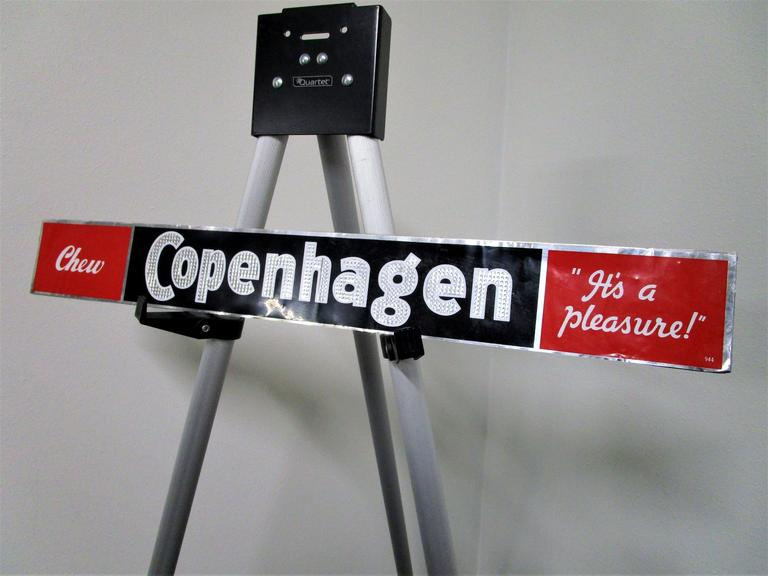 "Copenhagen Chew ""It's a Pleasure"" - Highly Collectible Sign Plaquard - Solid Metal 24x3"" - Online Auction"