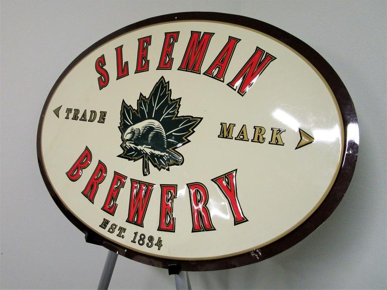 "Sleeman Brewery 31x22"" Pub Sign - Solid Tin Metal Bar Signage - Online Auction"