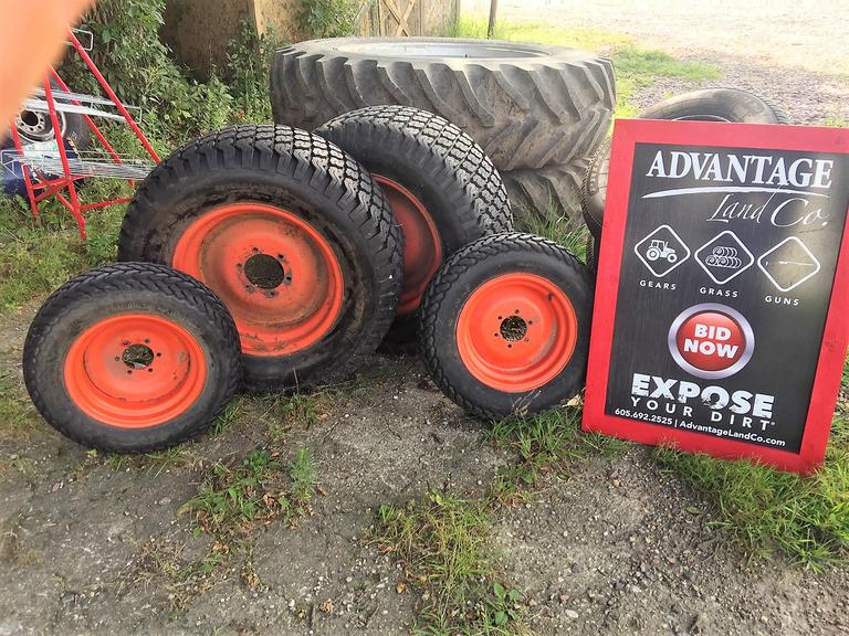 Kubota Tractor Tires - Front and Rear - REAR TIRES NEW! 38x14.00-20NHS - SAVE HUNDREDS! - Online Auction
