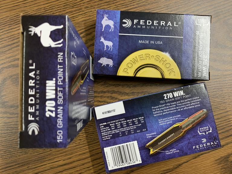 3 Boxes of Federal Ammuniton .270 Win Ammo - Bidding is Per Box - Online