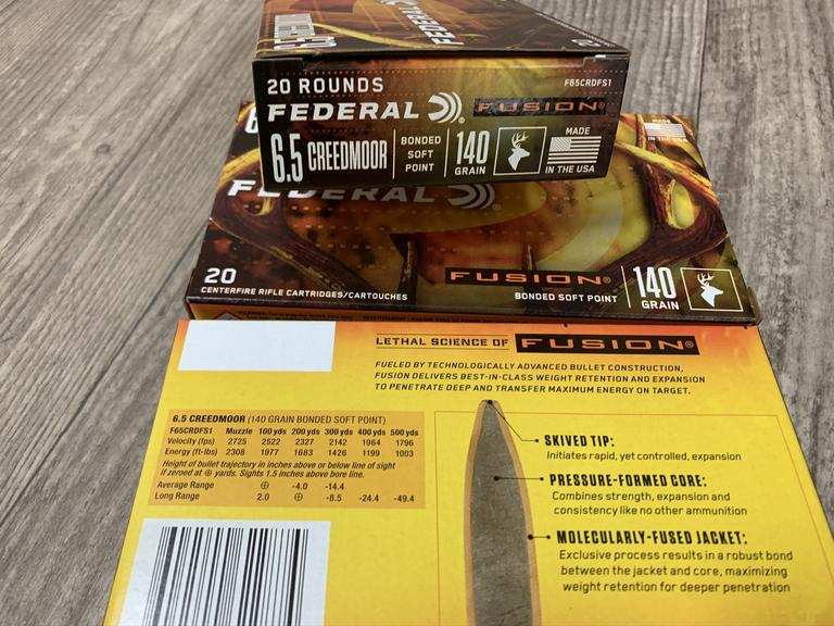 3 Boxes of Federal Ammuniton 6.5 Creedmoor Ammo - Bidding is Per Box  - Online